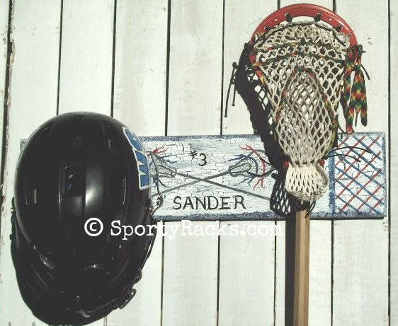 Lacrosse Helmet and Stick Holder Sports Rack Custom by sportyracks