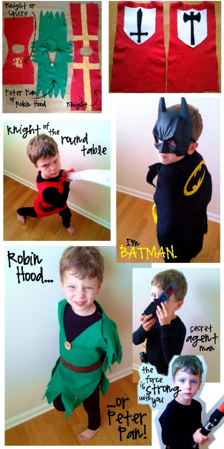 boy costumes collage--basically use black long johns set as base layer, then create simple felt pieces for the costume.