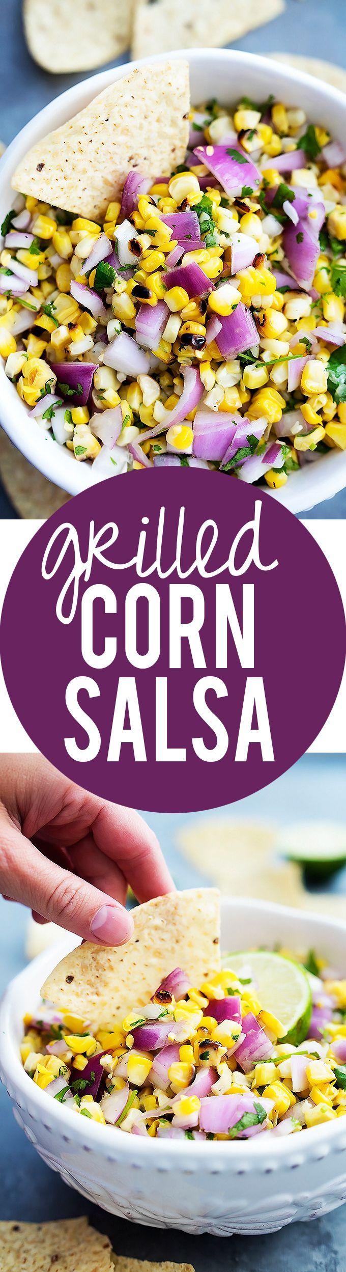 Grilled Corn Salsa - just 6 ingredients! | Creme de la Crumb