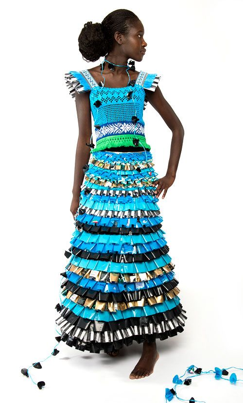 Precious Trash dress by Johanna Törnqvist. She makes garments out of recycled textile and plastic material, and combines craft and fashion into her meticulously handmade and unique necklaces and garments.