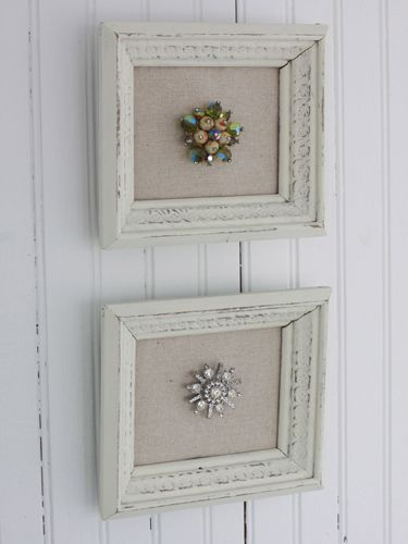 Old-fashioned brooches that may look gaudy on a sweater are gorgeous when mounted on linen in a frame.  Get the tutorial from Maple & Magnolia »   - CountryLiving.com