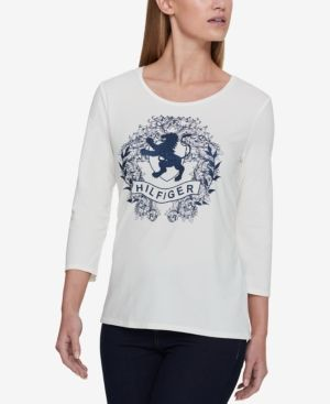 Tommy Hilfiger 3/4-Sleeve Logo Top, Created for Macy's - White XXL