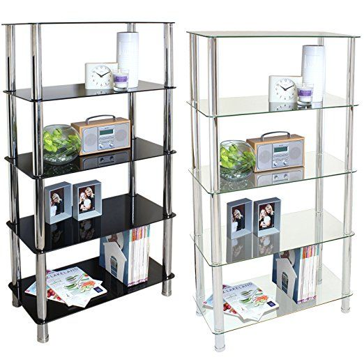 Hartleys 5 Tier Glass Shelf Unit - Available in Black or Clear Glass