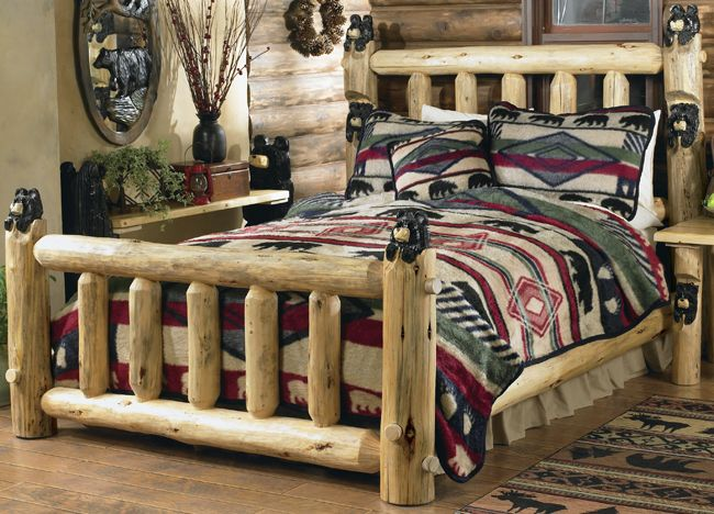 Carved Black Bear Log Bed   King Found In Our Rustic Log Beds At Home  Furniture Design Ideas.
