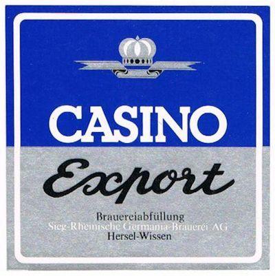 """Casino Export (Flaschenetikett) - ein Bier, das in den 70er Jahren """"billiger"""" verkauft wurde als das Germania Export, aber keinewegs schlechter war."""