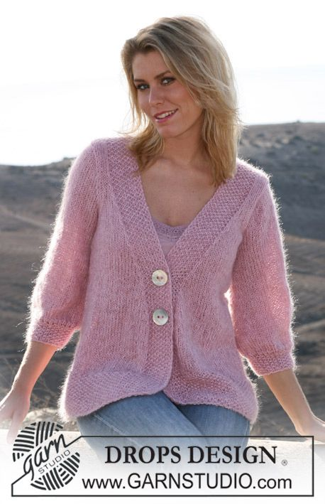 DROPS jacket in Alpaca and Vivaldi. Size S – XXXL Free pattern by DROPS Design.