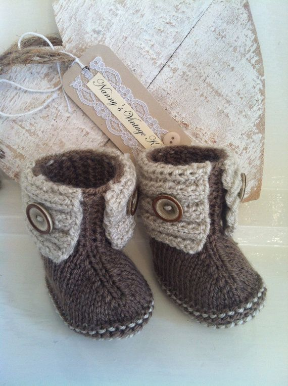 Brown baby boots with button detail by NannysVintageKnit on Etsy, £6.00