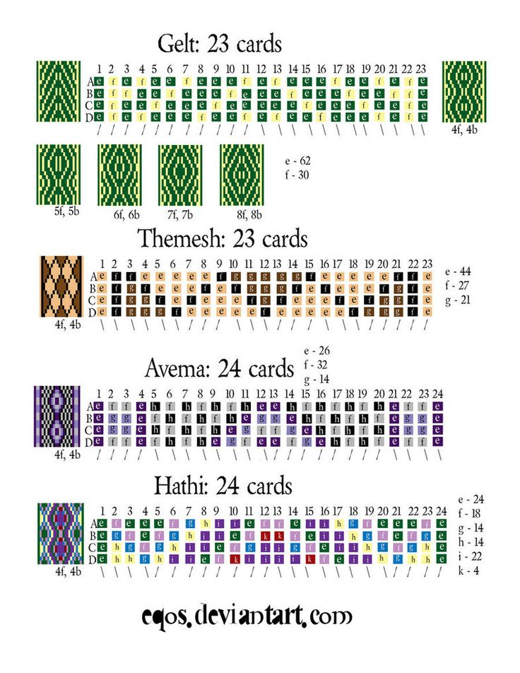 Tablet Weaving Patterns 4 by ~eqos on deviantART Love the Argyle Mesh Plaid looking one