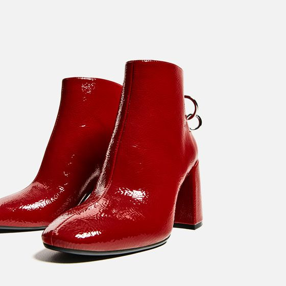 HIGH HEEL ANKLE BOOTS WITH METALLIC PULL TAB from Zara
