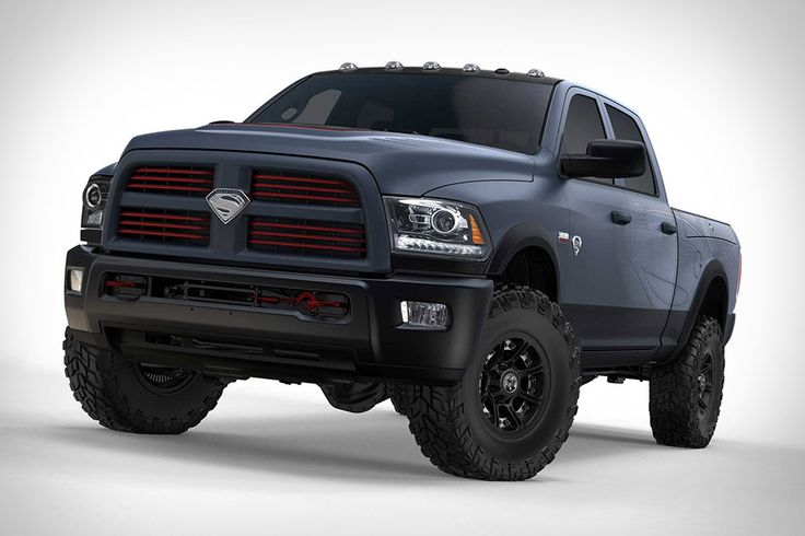 -Ram Man Of Steel Truck-  Dark Ceramic Gray paint job with a high-gloss black roof, anodized red grille accents, forged aluminum, satin-black 17-inch off-road wheels, and a custom wrap inspired by Superman's suit. Inside, you'll find Pewter leather seats with custom mesh inserts based on the suit, and anodized red accents on the doors, steering column, radio, and seats. Oh, and Superman logos on the grille, tailgate, seats, and console.