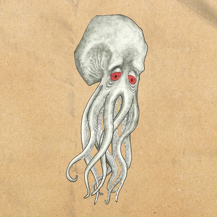 sad octupus illustration, Justyna Karpińska