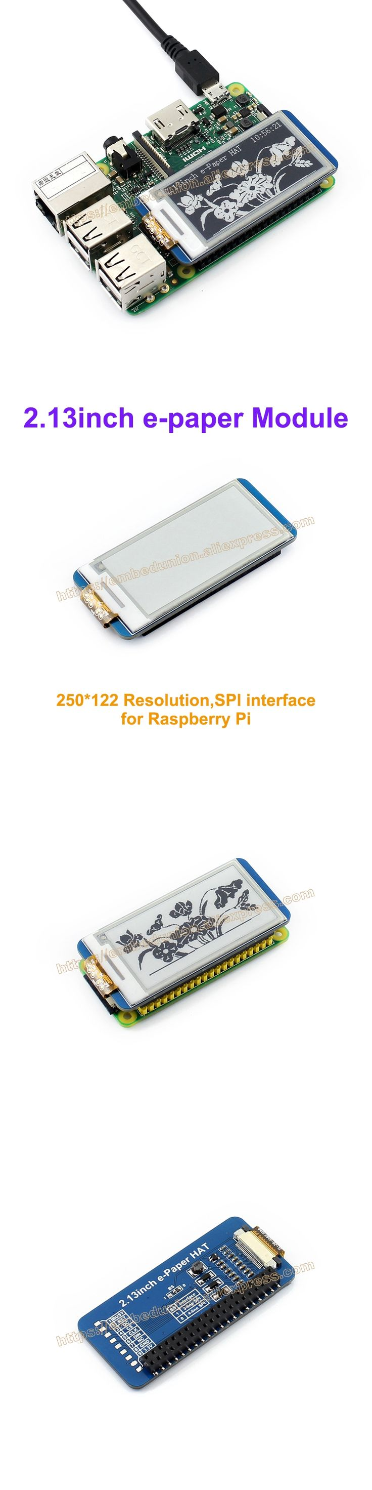 2.13inch e-Paper HAT 250x122 2.13inch E-Ink Drive Demo Board display for Raspberry Pi Display color: black,white,SPI Interface