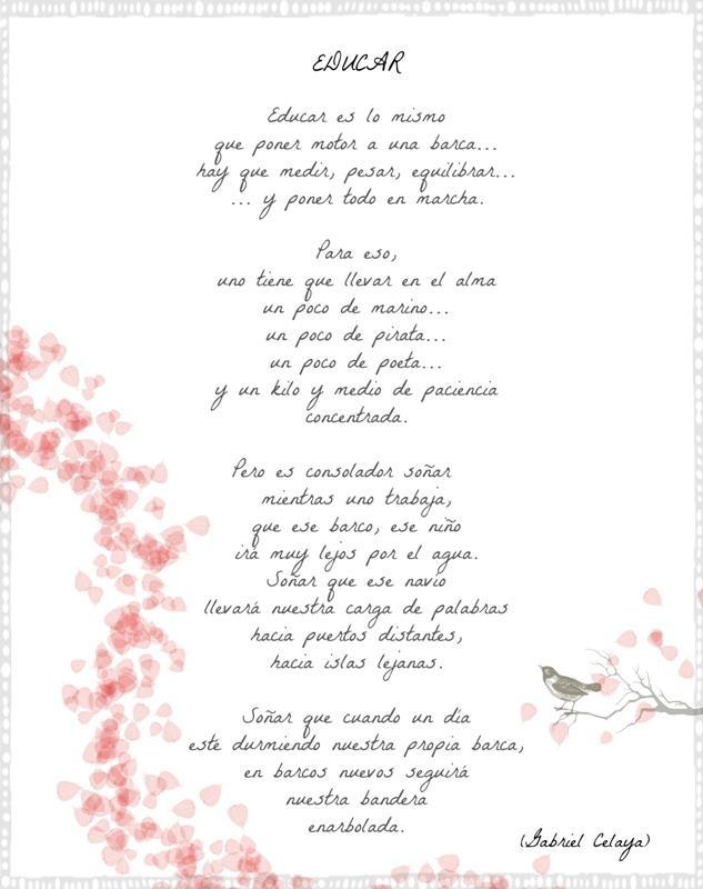 Educar poema de celaya educacion pinterest for Canciones para el jardin