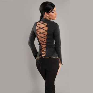 24,00 € ----- Chemise femme noire au captivant décolleté croisé dos.  Dévoilez votre dos grâce à la chemise femme noire au captivant décolleté croisé dos, sur la boutique en ligne originalemode.