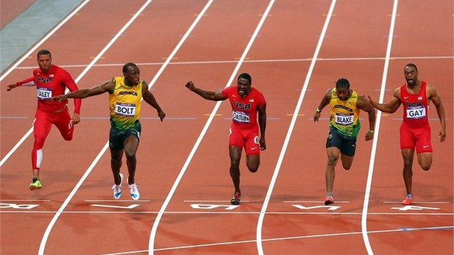 (L-R) Ryan Bailey of the United States, Usain Bolt of Jamaica, Justin Gatlin of the United States, Yohan Blake of Jamaica, Tyson Gay of the United States on Day 9