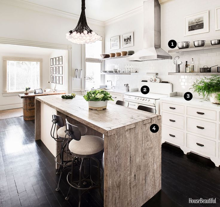 1896 Victorian Kitchen - An island made of weathered barnwood, with a built-in Carrara marble cutting board, adds warmth and texture.