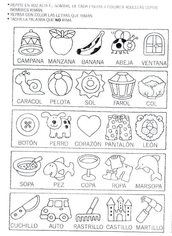 spanish rhyme worksheet coloring sheet educacion palabras que riman actividades de rimas y. Black Bedroom Furniture Sets. Home Design Ideas