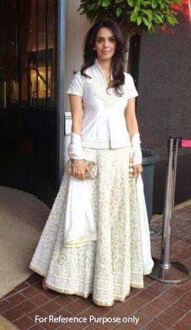 Mallika White and Beige Bollywood Lehenga | Veeshack Shop