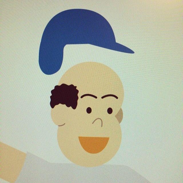 パスでイラスト描くと帽子の下は髪の毛いらないから、こうなるのよね。これは野球選手。  #illustration #イラスト #art #junoson #oson