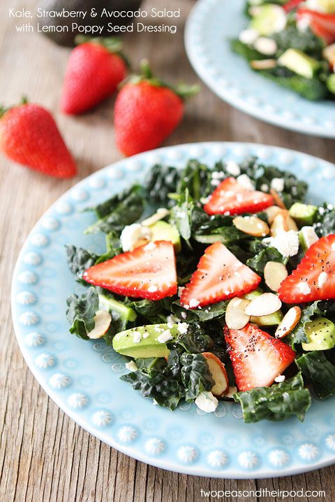 Kale, Strawberry & Avocado Salad with Lemon Poppy Seed Dressing on www.twopeasandthe...