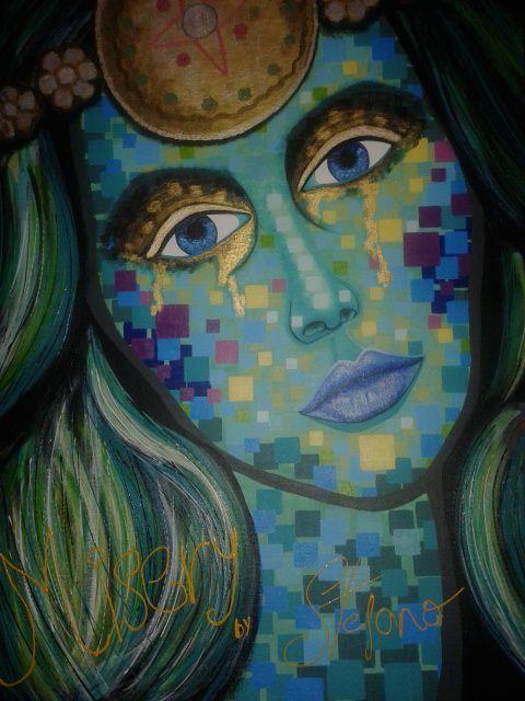 Misery by STEFANO acrylic on canvas(50x70cm) fashion art 2015 portrait,paint,painting,modernpainting,art, fineart,acrylic,canvas,artist