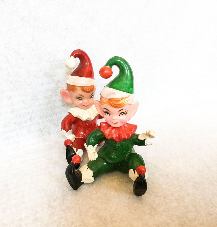 Vintage Rubber Elf, Rubber Elves, Midcentury Christmas Elf, Vintage Christmas Decor, Hong Kong by PattisPickins on Etsy