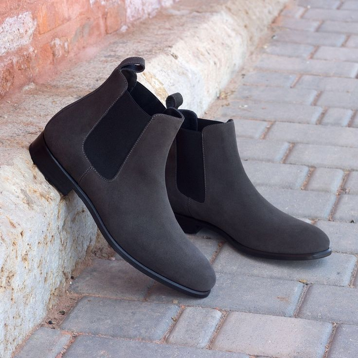 Handmade Men gray suede Chelsea boots, Mens style ankle suede leather boot - Boots