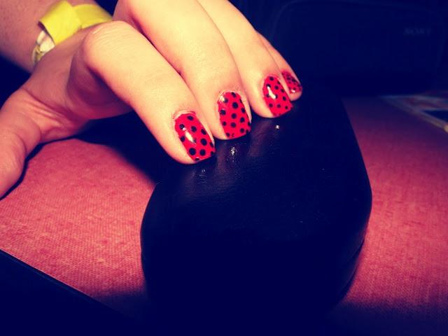 Red+Black polka dot nails