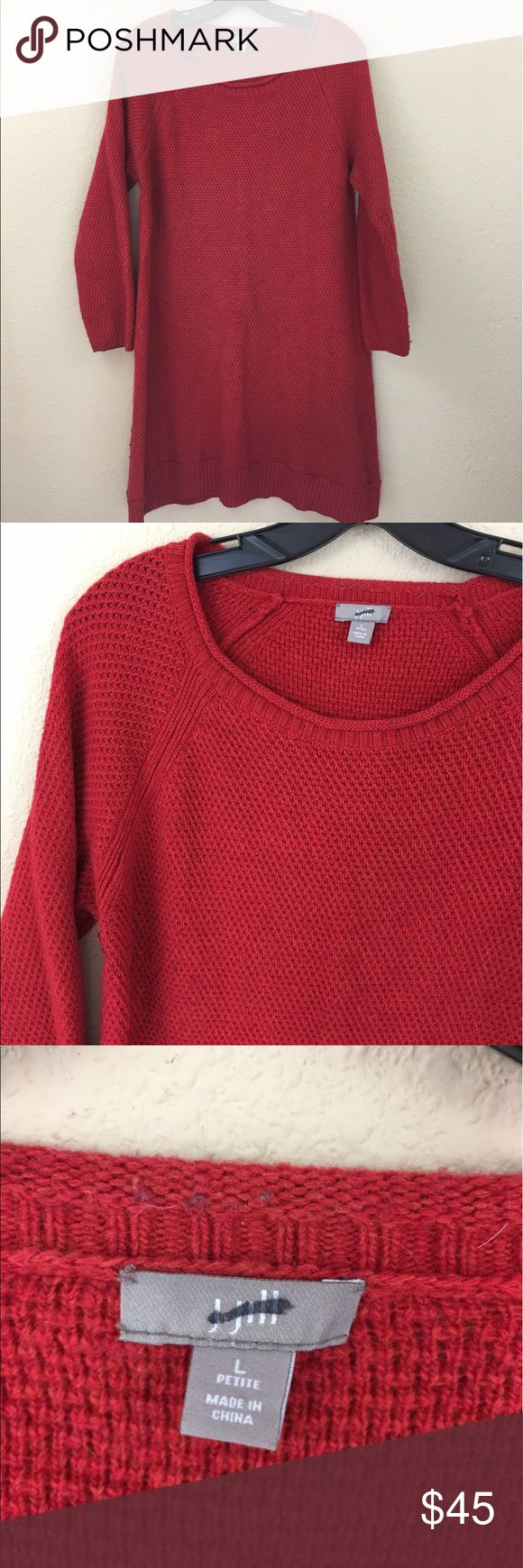 J. Jill red waffle knit wool blend sweater dress Great condition J. Jill Dresses