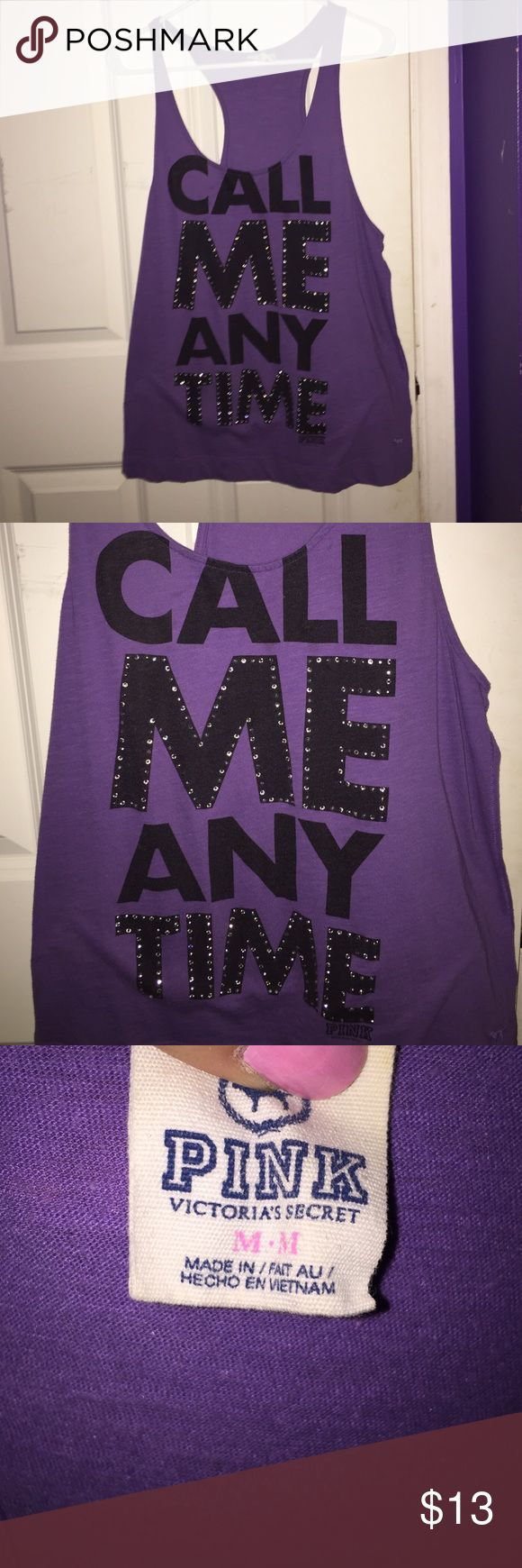 Purple Tank Call me any time tank from PINK. Runs big. No flaws PINK Victoria's Secret Tops Tank Tops
