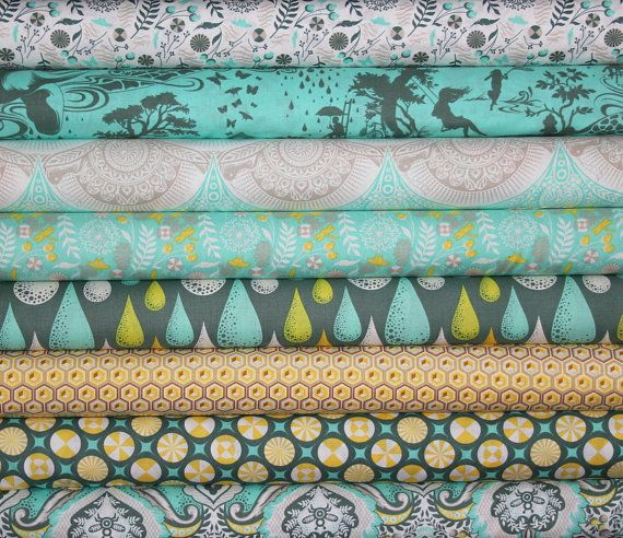 fat quarter bundle (honey colorway)--8 pieces (2 yards total) from the Prince Charming Collection, Tula Pink, Free Spirit Fabrics