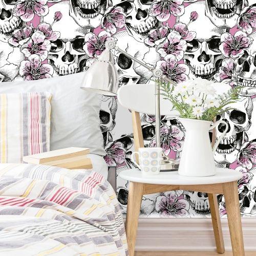 Adesivo de parede Skull With Pink Cherry