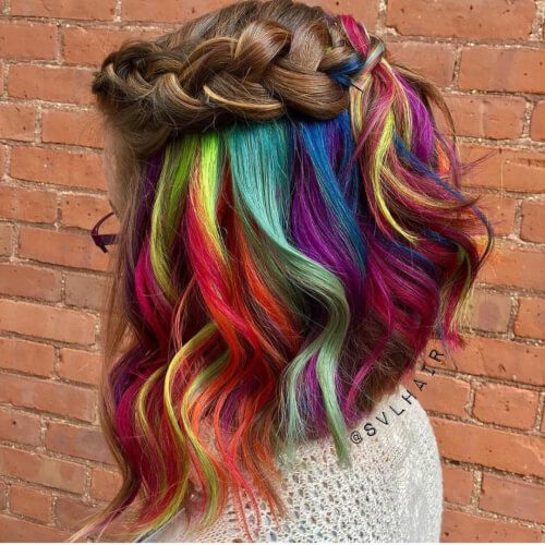 vivid underlights rainbow hair color