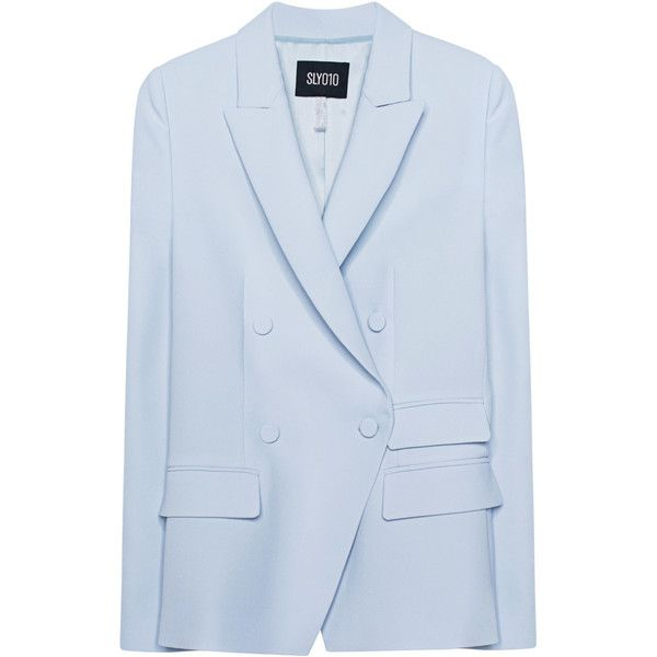 SLY 010 Business Double Buttoning Air Blue // Two-rowed blazer (48.275 RUB) via Polyvore featuring outerwear, jackets, blazers, blue blazer, collar jacket, straight jacket, button jacket и blue blazer jacket