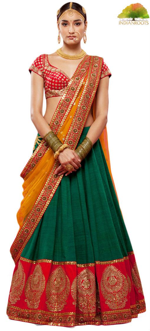 This wedding lehenga is made of Green color raw silk having zari work red color border on hemline. Choli of this wedding lehenga is in silk fabric having zari embroidery on it. Dupatta of this wedding