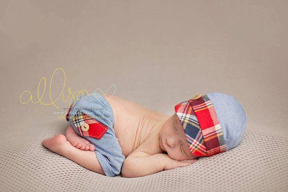 newborn boy HAT & SHORTS set Quinn  photography by adorableprops, $66.00