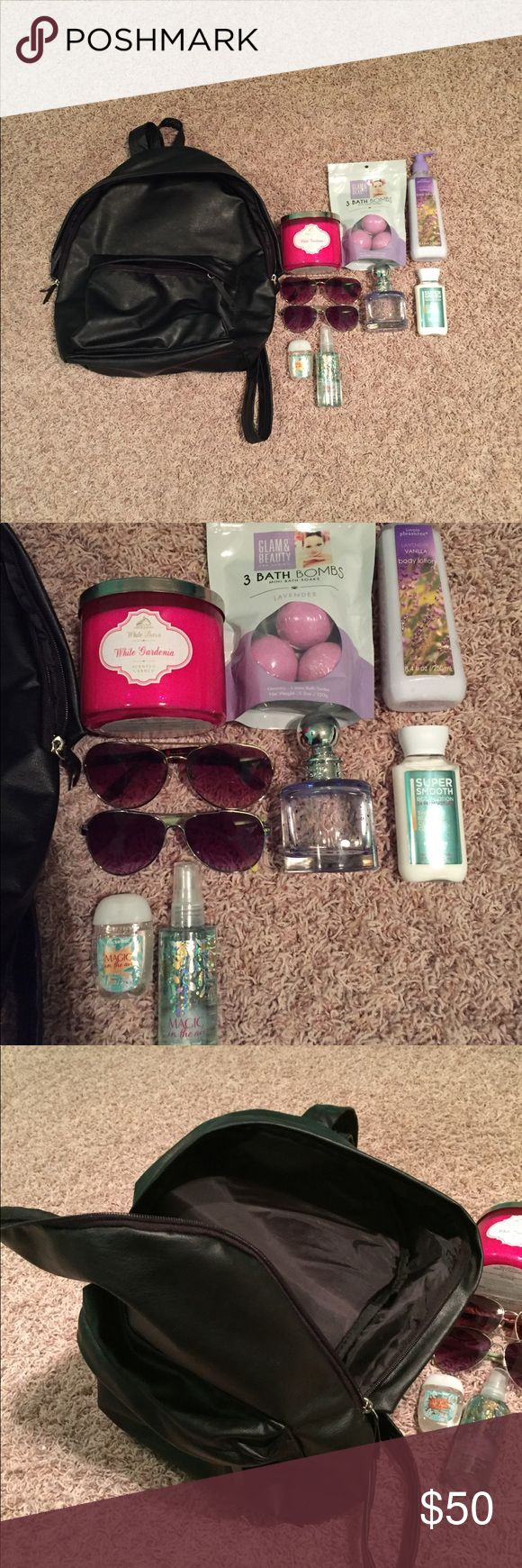 """ANOTHER BOOKBAG BUNDLE This bundle is a STEAL for the price! You pay $50 for 1 bath and body works candle, 1 """"magic in the air"""" travel size perfume from bath and body works WITH the matching hand sanitizer! You also get 2 pairs of sunglasses AND a Jessica Simpson perfume! The perfume does not have a box, but I will surely be wrapping everything up tightly to insure it doesn't break during shipment!! Hope you guys enjoy!! :) Other"""