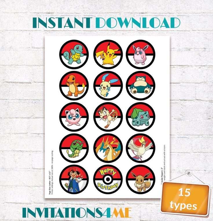 Pokemon Cupcake Toppers Pokemon Go Labels Birthday Party Stickers Decorations Printables Supplies INSTANT DOWNLOAD Digital File by INVITATIONS4ME on Etsy