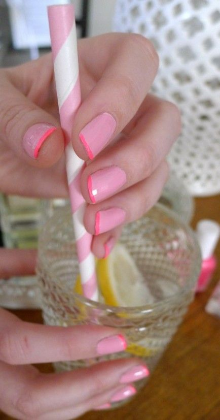 25 Summer Nail Art Trends   Tutorials.  Two Toned    Give yourself a french manicure with pink on pink.   Find out more at The Glitter Guide.
