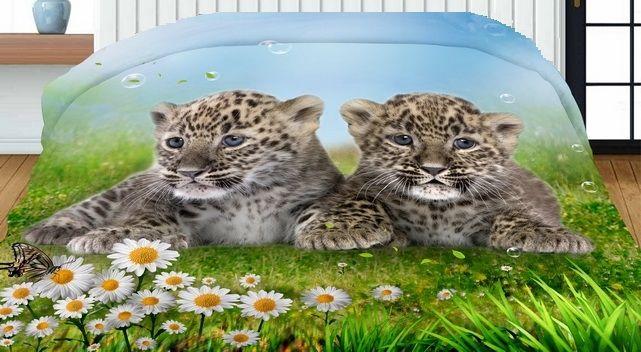 Gepardy obojstranný prehoz na posteľ modro zelenej farby