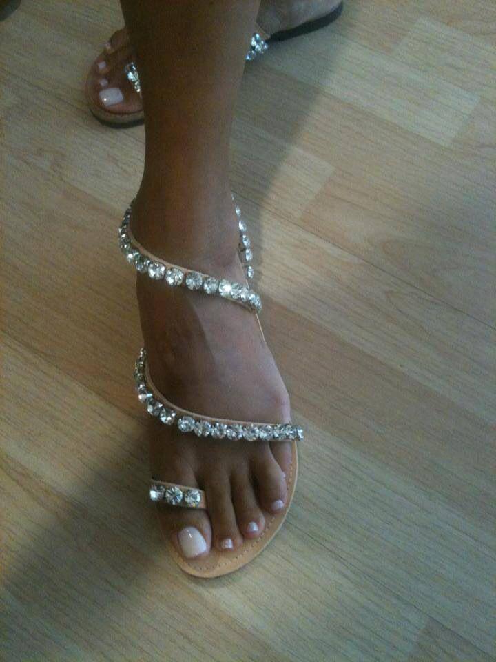 #princess #sandals #ancient #greek #crystal #sparkle #decorated #handmade #bridal Princess Greek Handmade Sandal: Handmade leather sandal decorated with crystals on fine gold-plated braid.