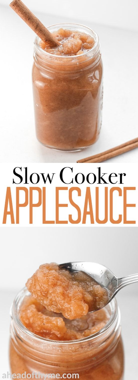 Homemade slow cooker applesauce is full of flavour, easy to make, and takes only a few minutes of your time! Make this essential fall ingredient today! | aheadofthyme.com