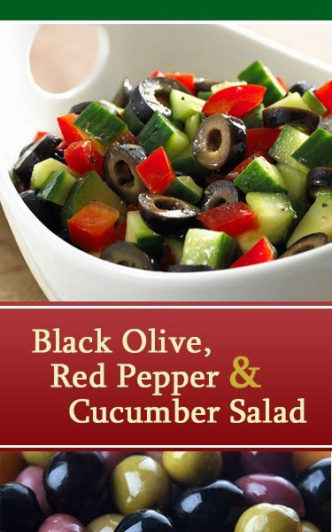Black Olive, Red Pepper and Cucumber Salad recipe from Lindsay Olives. Such a festive looking recipe for the holidays!