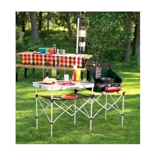 Portable Camping Kitchen Table Lightweight Folding Cooking Equipment Furniture #Coleman