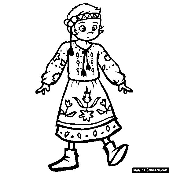 Coloring pages for National Costumes from may countries.