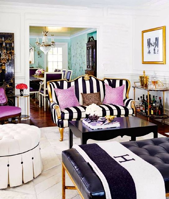 Girly glamour in the living room of, editor in chief of Canadian interiors mag Style At Home, Jessica Claire's fabulous home.