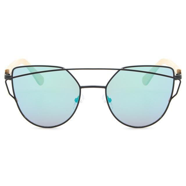 HDCRAFTER Cat Eye Wood Bamboo Sunglasses Polarized Women Fashion Mirror Sunglasses Women Brand Designer HD Glasses