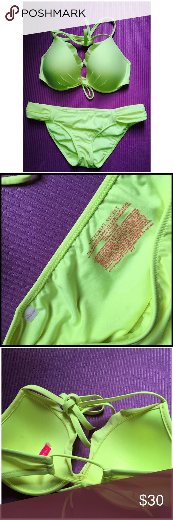 Vitoria Secret's Bathing Suits Great condition. The top is size 34D, and the bottom is size Small. The color is neon yellow-ish Victoria's Secret Swim Bikinis