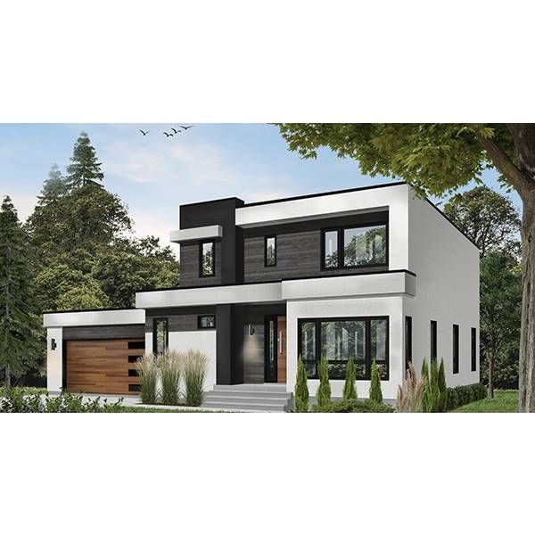 Plan 85283ms Dynamic 4 Bed Modern House Plan With Finished Walkout Basement House Plans Modern House Plan Modern House Plans