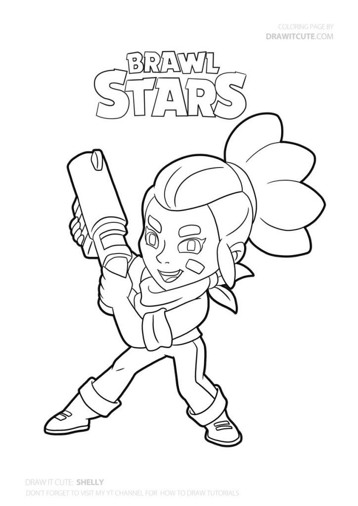 How To Draw Shelly Super Easy Brawl Stars Drawing Tutorial Draw It Cute Brawl Brawlstars Draw Drawi Star Coloring Pages Coloring Pages Drawing Tutorial